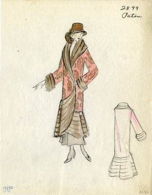 Original sketch from A. Beller & Co. of a Patou design, Winter 1923