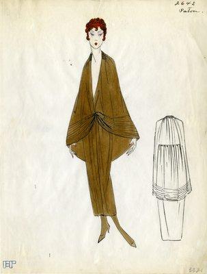 Original sketch from A. Beller & Co. of a Patou design, Spring 1923