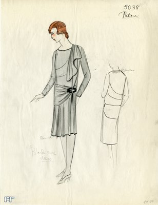 Original sketch from A. Beller & Co. of a Patou design, Spring 1927-1928