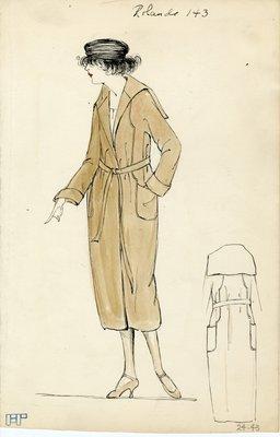 Original sketch from A. Beller & Co. of a Rolande design, Spring 1921