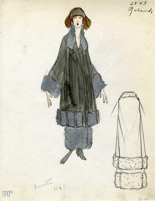 Original sketch from A. Beller & Co. of a Rolande design, Fall 1923
