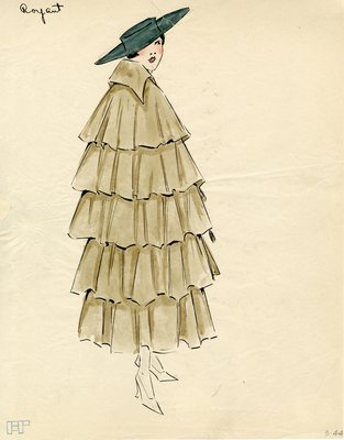 Original sketch from A. Beller & Co. of a Royant design, circa 1914-1920