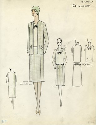 Original sketch from A. Beller & Co. of a  Schiaparelli design, February 1929