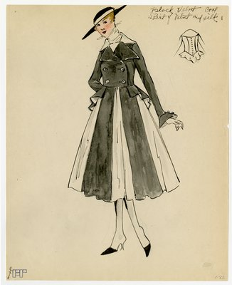 Original sketch from A. Beller & Co. of an unattributed design, circa 1914-1920