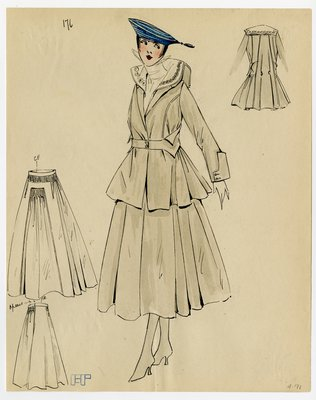 Original sketch from A. Beller & Co. of an unattributed design, circa 1915-1920