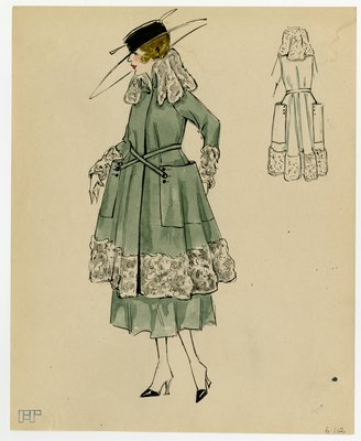 Original sketch from A. Beller & Co. of an unattributed design, circa 1916-1920