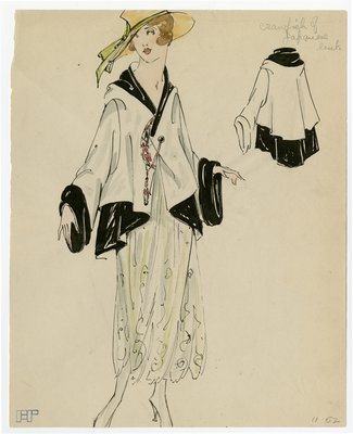 Original sketch from A. Beller & Co. of an unattributed design, circa 1917-1920