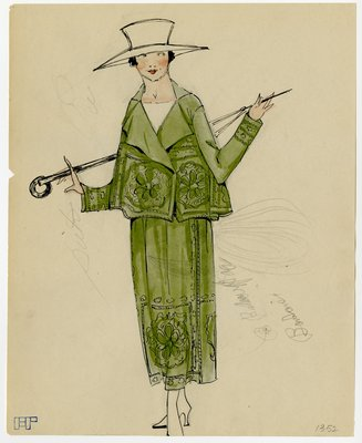 Original sketch from A. Beller & Co. of an unattributed design, circa 1918-1920