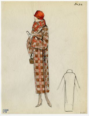Original sketch from A. Beller & Co. of an unattributed design, Spring Summer 1923