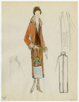 Original sketch from A. Beller & Co. of an unattributed design, circa 1924