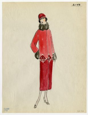 Original sketch from A. Beller & Co. of an unattributed design, Fall 1924
