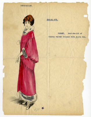 Original sketch from A. Beller & Co. of an unattributed design, undated
