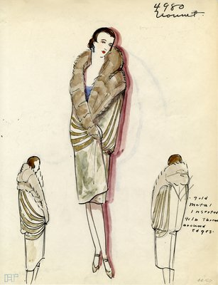 Original sketch from A. Beller & Co. of a Vionnet design, Fall Winter 1927-1928