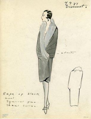 Original sketch from A. Beller & Co. of a Vionnet design, Fall Winter 1927-1928