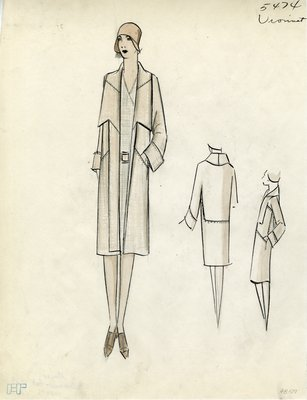 Original sketch from A. Beller & Co. of a Vionnet design, February 1929