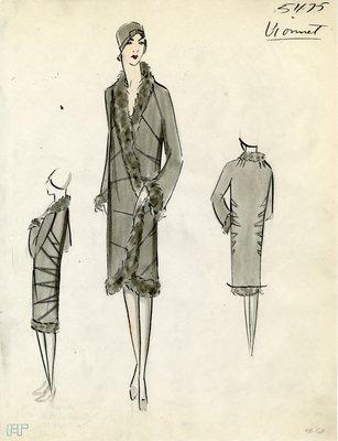 Original sketch from A. Beller & Co. of a Vionnet design, February 1929