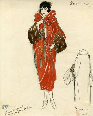 Original sketch from A. Beller & Co. of a Worth design, circa 1922