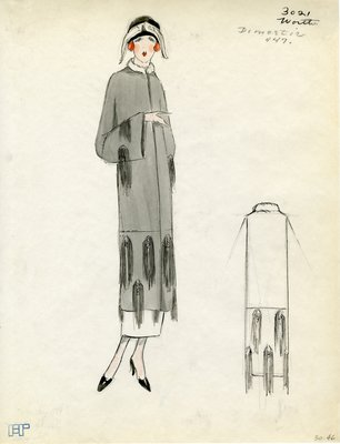 Original sketch from A. Beller & Co. of a Worth design, Spring Summer 1923