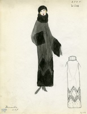 Original sketch from A. Beller & Co. of a Worth design, Fall 1923