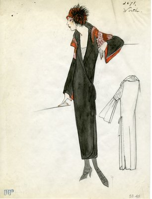 Original sketch from A. Beller & Co. of a Worth design, Spring 1923