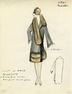 Original sketch from A. Beller & Co. of a Worth design, Fall/Winter 1927-1928