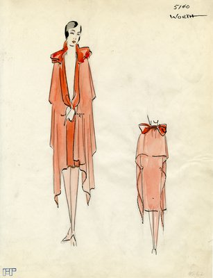 Original sketch from A. Beller & Co. of a Worth design, Summer 1928