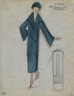 Original sketch from A. Beller & Co. of a Philippe et Gaston design, Spring Summer 1923