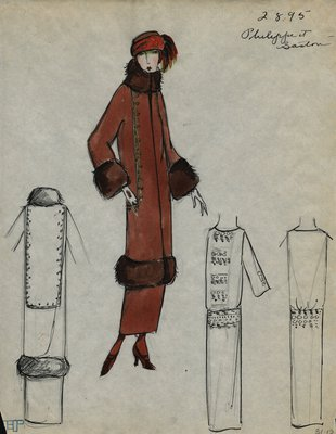 Original sketch from A. Beller & Co. of a Philippe et Gaston design, Winter 1923