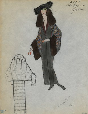 Original sketch from A. Beller & Co. of a Philippe et Gaston design, Fall 1923