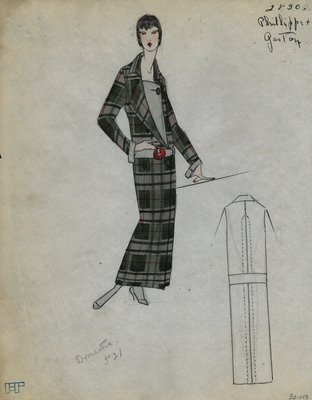 Original sketch from A. Beller & Co. of Philippe et Gaston design, Fall 1923