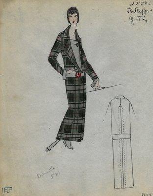 Original sketch from A. Beller & Co. of Philippe et Gaston design, Fall 1923
