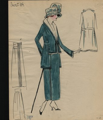 Original sketch from A. Beller & Co. of a Poiret design, circa 1917-1920