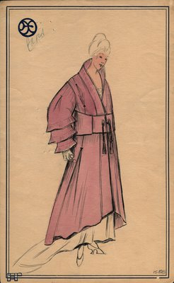 Original sketch from A. Beller & Co. of a Poiret design, circa 1918-1920