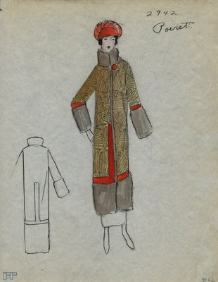 Original sketch from A. Beller & Co. of a Poiret design, Winter 1923