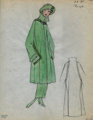 Original sketch from A. Beller & Co. of a Poiret design, Spring 1923