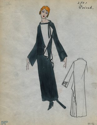 Original sketch from A. Beller & Co. of a Poiret design, Spring 1923