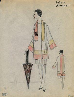 Original sketch from A. Beller & Co. of a Poiret design, Winter 1926