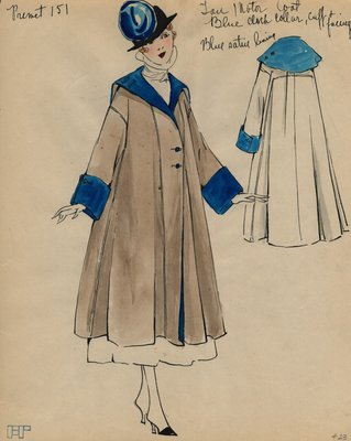 Original sketch from A. Beller & Co. of a Premet design, circa 1915-1920