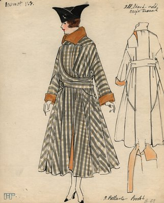 Original sketch from A. Beller & Co. of a Premet design, circa 1916-1920