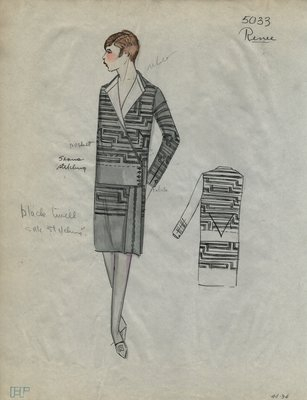 Original sketch from A. Beller & Co. of a Renee design, Spring 1927-1928