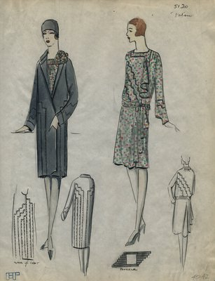 Original sketch from A. Beller & Co. of a Patou design, Summer 1928