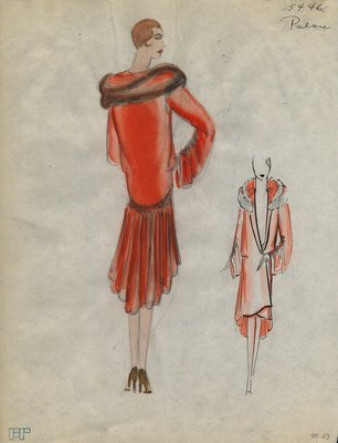 Original sketch from A. Beller & Co. of a Patou design, Summer 1929