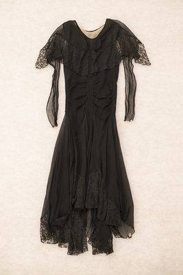 Black chiffon dress with lace, front view, 1929