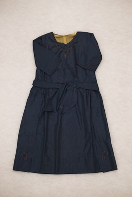 Navy taffeta dress with glass beads, front view, circa 1922-1925