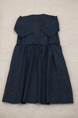 Navy taffeta dress with glass beads, back view, circa 1922-1925