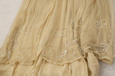White beaded wedding style dress, skirt detail, 1915