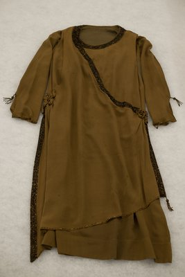 Brown chiffon dress with beading, front view, circa 1926-1928