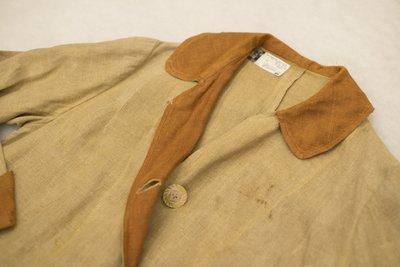 Brown two-tone linen blazer, collar detail, 1915