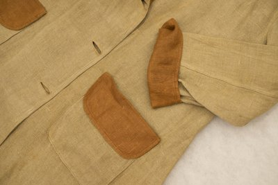 Brown two-tone linen blazer, pocket and cuff detail, 1915