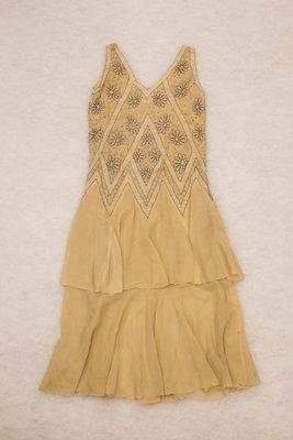 Beige beaded dress, back view, 1920s